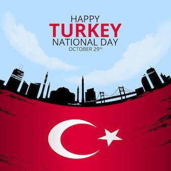 Bonne fête nationale de la turquie avec drapeau grunge et monuments