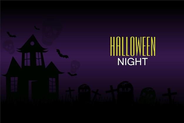 Bonne fête de nuit d'halloween avec fond de nuit sombre et maison effrayante