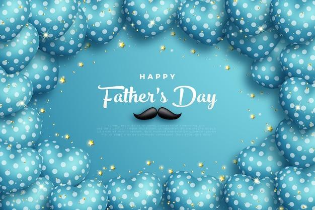 Bonne fête des pères avec ballon d'amour encadré.