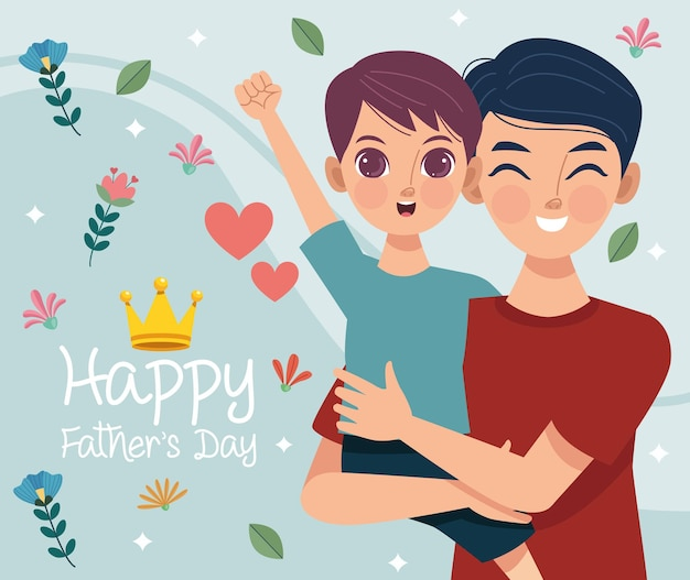 Bonne fête des pères carte de voeux avec papa soulever son fils