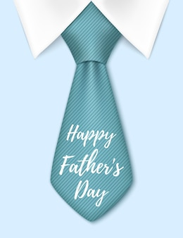 Bonne fête des pères, avec cravate bleue. modèle de carte de voeux.
