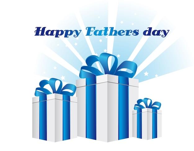 Bonne fête des pères avec illustration vectorielle de cadeaux carte