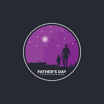 Bonne fête des pères logo design modèle illustration vecteur