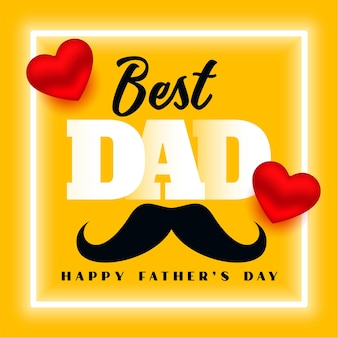 Bonne fête des pères meilleure conception de carte de voeux jaune papa