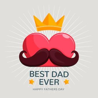Bonne fête des pères avec moustache et couronne