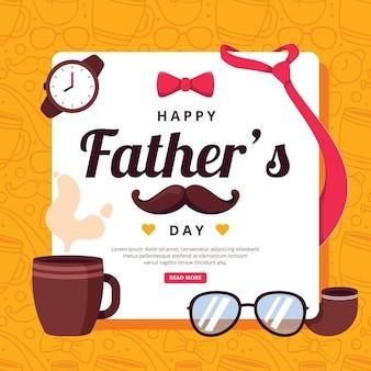 Bonne fête des pères avec moustache et tasse