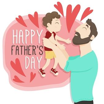 Bonne fête des pères avec papa et garçon