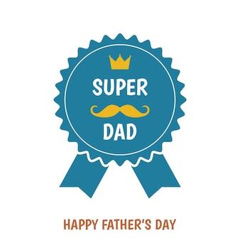 Bonne fête des pères salutation badg. super-papa. modèle de style plat.