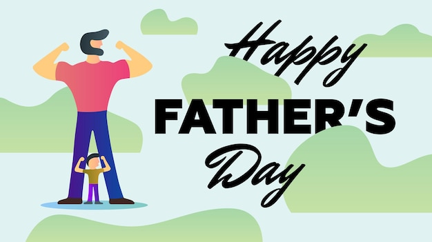 Bonne fête des pères vacances fort papa fils montrer bras muscles biceps stand vecteur de fond kaki
