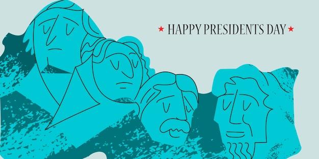 Bonne fête des présidents. monument sur le mont rushmore aux états-unis.