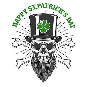 Bonne fête de la saint-patrick. crâne de lutin irlandais avec trèfle. élément pour affiche, t-shirt, emblème, signe. illustration