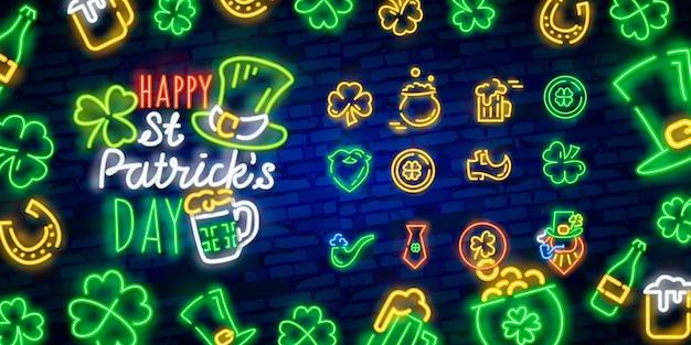 Bonne fête de la saint-patrick dans le style néon