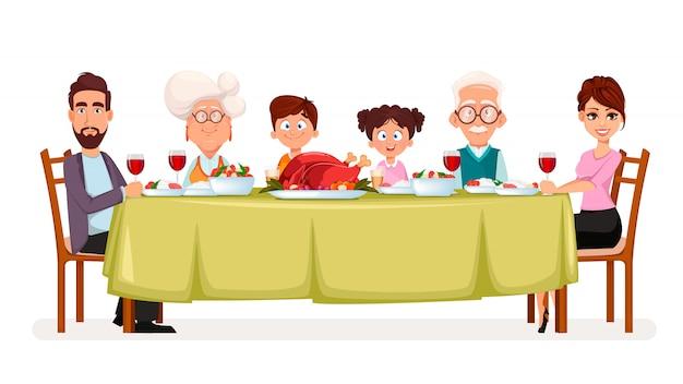 Bonne fête de thanksgiving. famille heureuse