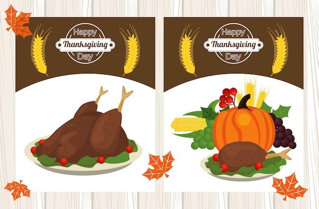 Bonne fête de thanksgiving avec de la nourriture et des fruits de dindes.