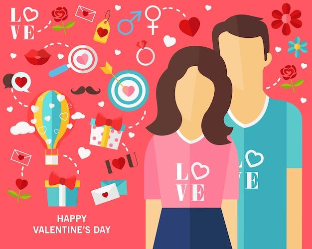 Bonne fête de valentine icônes plates