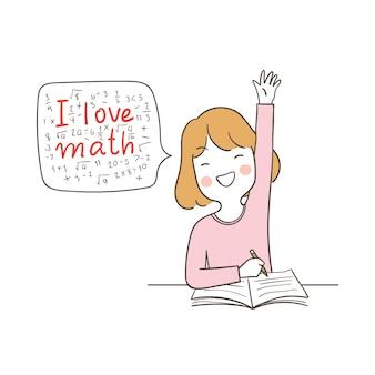 Bonne fille assise et disant que j'aime les mathématiques