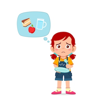 Bonne fille mignonne enfant a faim envie de manger et pense à la nourriture
