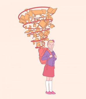 Bonne fille mignonne avec sac à dos prêt pour l'école, préparation réussie à l'éducation. illustrations de style dessinés à la main.