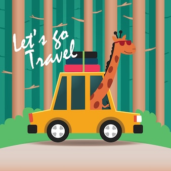 Bonne girafe conduisant une voiture