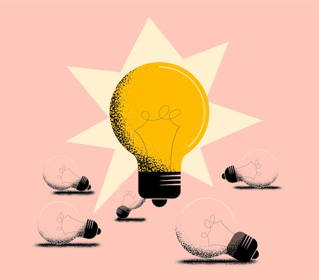 Bonne idée ou concept d'idée de travail avec une grande lampe à ampoule rougeoyante et les ampoules éteintes inopérantes situées en dessous