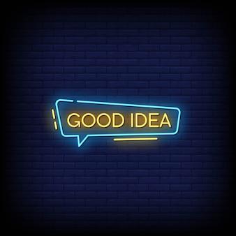 Bonne idée de texte de style d'enseignes au néon