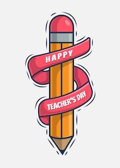 Bonne illustration de l'icône de voeux de jour de l'enseignant