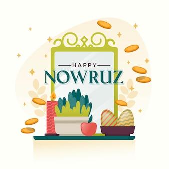 Bonne Illustration De Nowruz Avec Mirro Vecteur gratuit