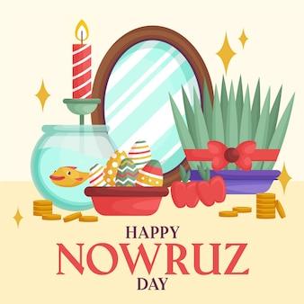 Bonne Illustration De Nowruz Avec Pousses Et Miroir Vecteur gratuit