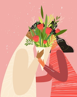 Bonne illustration de la saint-valentin. joli couple romantique amoureux s'embrassant derrière les fleurs