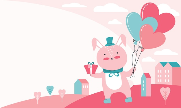 Bonne illustration de la saint-valentin. lapin rose avec cadeau et ballons en forme de coeur sur un paysage urbain. animal de caractère amoureux