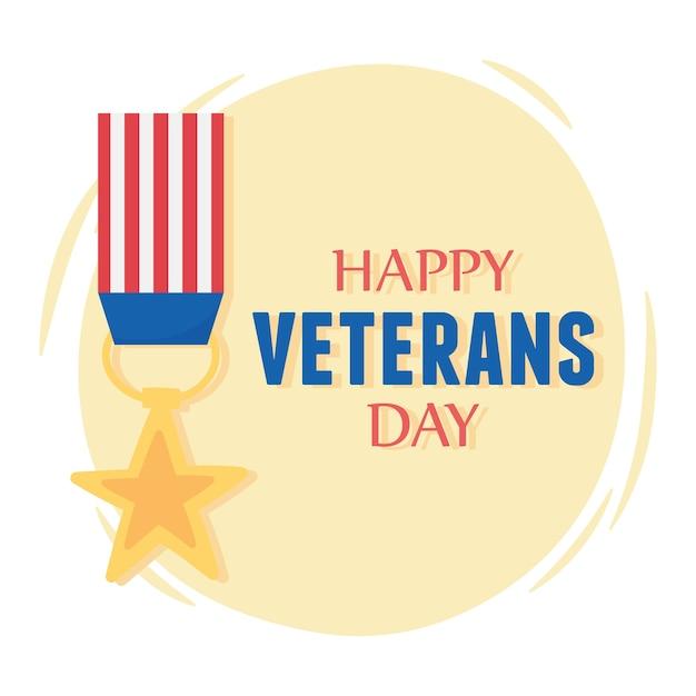 Bonne journée des anciens combattants, drapeau américain médaille étoile, soldat des forces armées militaires américaines.