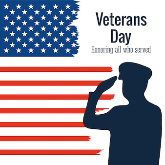 Bonne journée des anciens combattants, soldat salue l'illustration de style grunge de drapeau américain