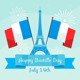 Bonne journée bastille avec tour eiffel et drapeaux