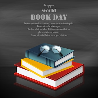 Bonne journée du livre mondial avec une pile de livres sur fond noir