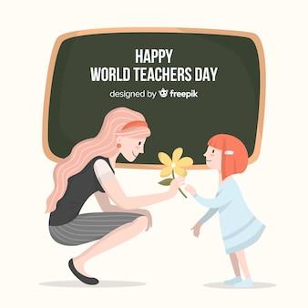 Bonne journée du professeur monde avec enseignante et tableau noir