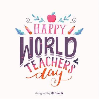 Bonne journée du professeur monde avec lettrage