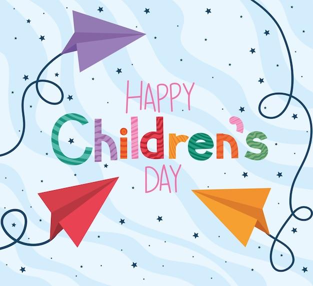 Bonne journée des enfants avec la conception d'avions en papier, thème de la célébration internationale