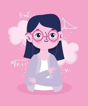 Bonne journée des enseignants, formule mathématique de cours de dessin animé de professeur de portrait