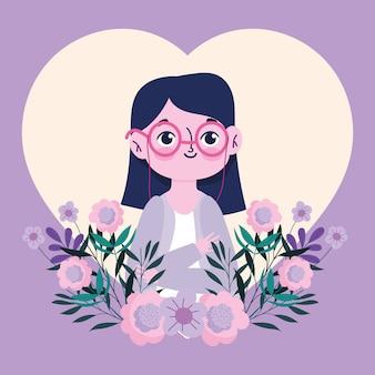 Bonne journée des enseignants, personnage de jeune femme enseignant avec des fleurs