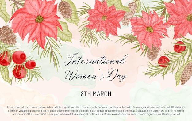 Bonne journée de la femme avec fond floral aquarelle