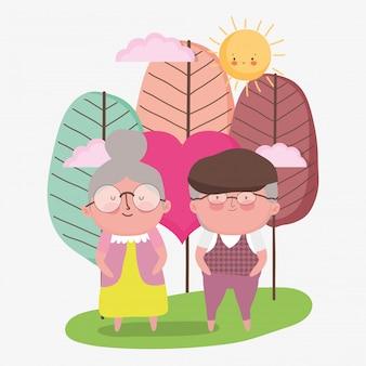 Bonne journée des grands-parents. couple de personnes âgées dans le parc