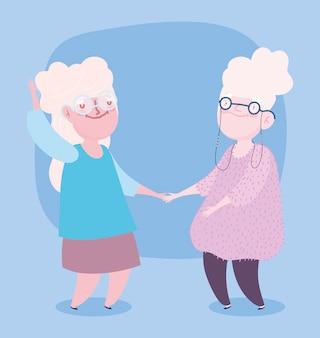 Bonne journée des grands-parents. dessin animé vieux grands-mères dansant
