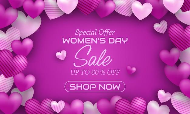 Bonne Journée Internationale De La Femme Avec Des Ballons D'amour Vecteur Premium