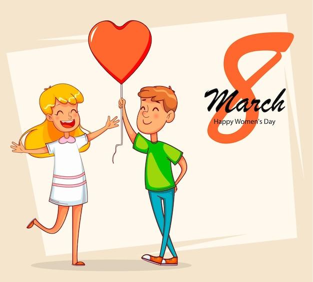 Bonne journée internationale de la femme. garçon donne un ballon en forme de coeur à sa petite amie