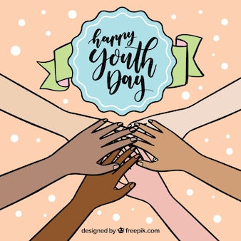 Bonne journée de la jeunesse avec les mains jointes