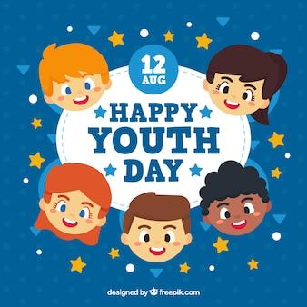 Bonne journée de la jeunesse avec des visages