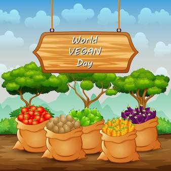 Bonne journée mondiale végétalienne avec différentes sortes de légumes
