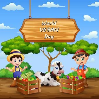 Bonne journée mondiale végétalienne avec des légumes et des agriculteurs