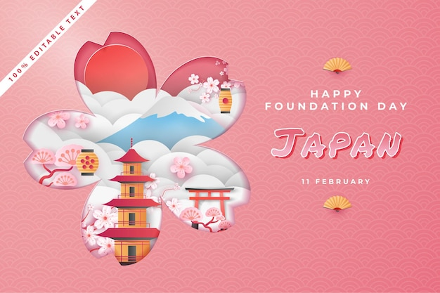 Bonne journée nationale de la fondation au japon en style art papier découpé avec effet de texte modifiable