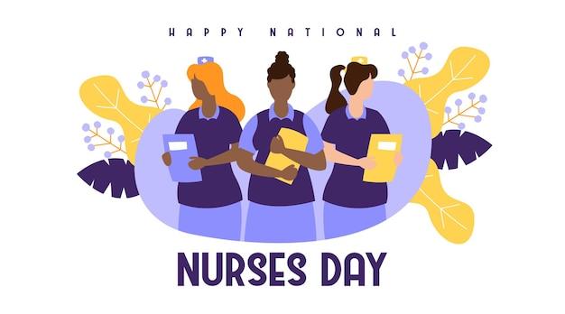 Bonne Journée Nationale Des Infirmières Vecteur Premium